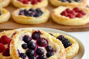 Recette pâtisseries aux fruits et au fromage à la crème